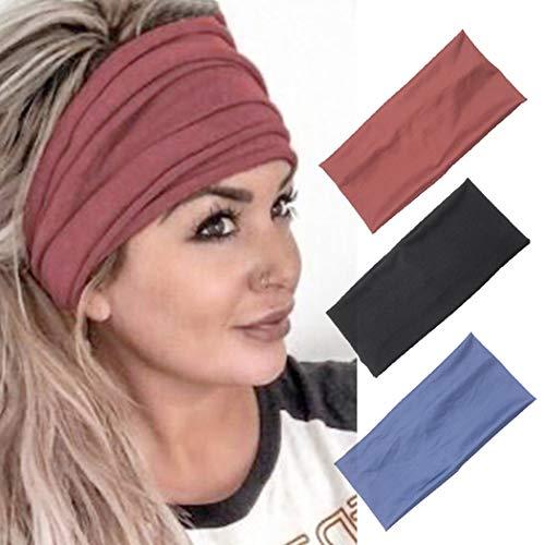 Zoestar Yoga-Stirnbänder, schwarz, zum Laufen, breiter Turban, Schal, stilvoll, elastisch, für Damen und Mädchen (3 Stück)