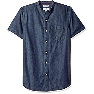 Men's Slim-Fit Short-Sleeve Band-Collar Denim Shirt