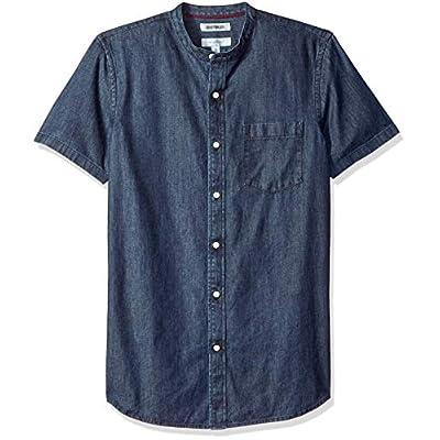 Men's Slim-Fit Short-Sleeve Band-Collar Denim Shirt
