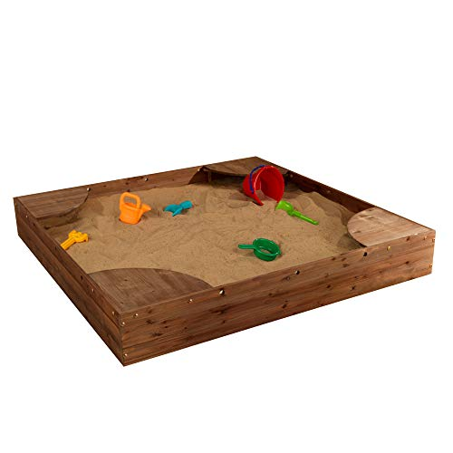 KidKraft Wooden Backyard Sandbox with Built-in Corner Seating and Mesh Cover - Espresso, 8.4 x 59 x 59 (00503)