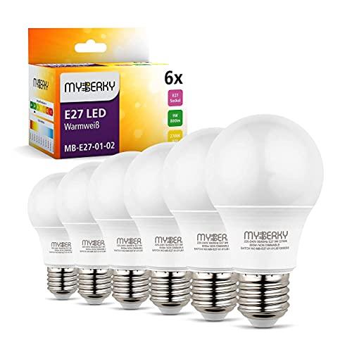 MyBerky® E27 LED – 9w [ersetzt 60 watt] – [A+] – LED Lampe warmweiss – [2]er & [6]er Set – [27.000K] – Glühbirne E27 – nicht Dimmbar – LED E27 – Flackerfrei – Geräuschlos & sofort einschaltbar