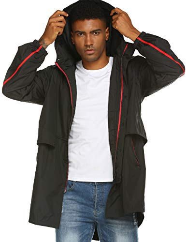 Mens Jackets with Hood and Zipper Windbreaker Thin Water Proof Jacket Black L