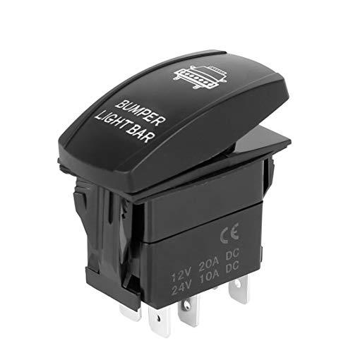 X AUTOHAUX Car LED Backlit Bumper Lights Rocker Switch on Off 5Pin DC 12V 20A 24V 10A Black