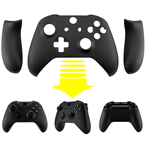 eXtremeRate Black Luxury PU Leather Top Shell Front Housing Faceplate Replacement Parts with Side Rails Panel for Xbox One X & One S Controller (Model 1708)