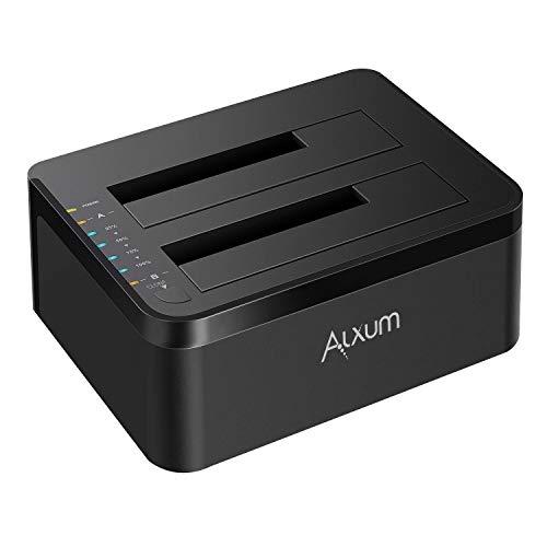 Alxum Docking Station per HDD, Docking Station per Disco Rigido USB 3.0 per SSD HDD SATA III/II/I da 2,5 Pollici e 3,5 Pollici, Supporta UASP, Dual ba
