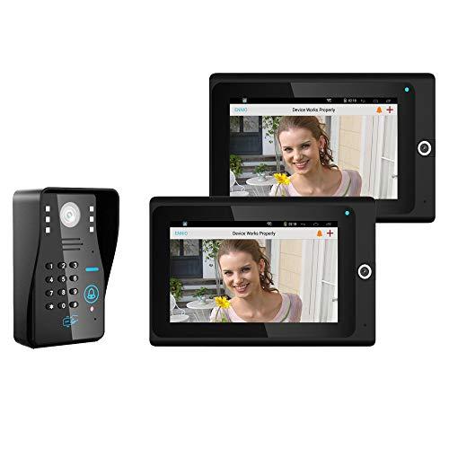 7 Pulgadas 2 Pantalla WiFi WiFi Wireless RFID Password Video Doorbell Timbre Intercomero IP Cámara infrarrojo Visión Nocturna Inicio