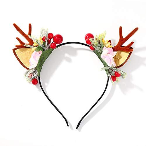 Diadema de Navidad Unicra Diadema de astas de flores Alce Ciervo Cuernos de animales Sombreros Pieza para el cabello Accesorios para el cabello de Halloween para mujeres y niñas