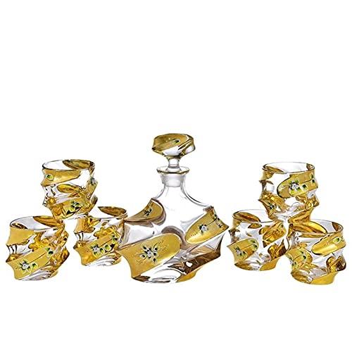 Cristal de cristal Real Gold Esmalte Flor Trace Gin Set de dos piezas 1x Botella de vino, 6x Copa