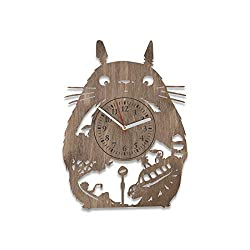 NadezhdaShop My Neighbor Totoro Wooden Wall Clock Birthday Gift for Kids Totoro Wall Decals Studio Ghibli Wooden Clock for Boys Totoro Wall Clock (Brown)