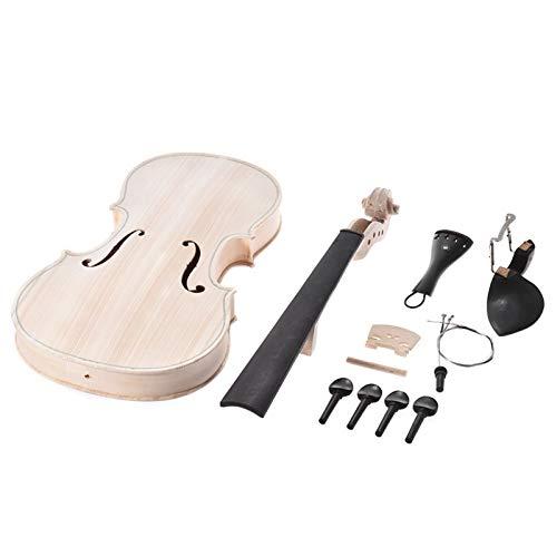 4/4 Full Size Violine DIY Kit Natur Massivholz Akustik Violine Geige Kit mit EQ Fichtendecke Ahorn Griffbrett ACDES (Color : Ebony Fitting)