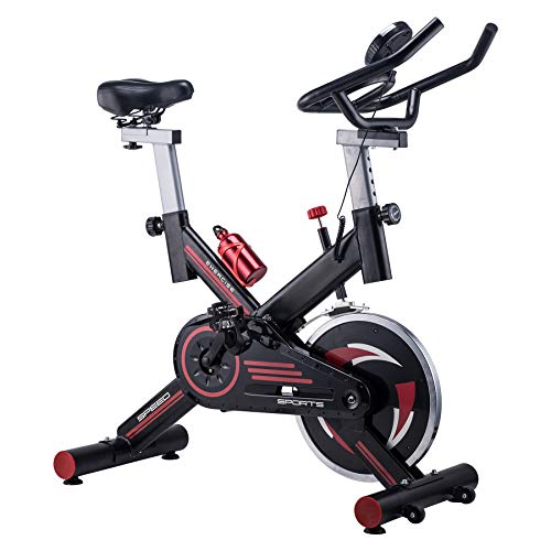 Z ZELUS Stationary Spin Exercise Bike, Indoor Upright Cycling Workout Gym with Reinforced Quiet Fly Wheels, LCD Screen, Tension Control & Fully Adjustable Height Handles, Seats, Max Weight: 330lbs