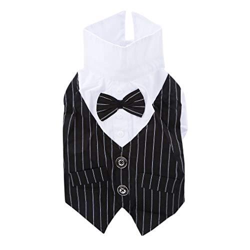 SUNSKYOO Haustier Kleidung Hund Kleidung Hochzeit Anzug Gentleman Kleid Kostüm für Kleine Hunde mittelgroße Hunde oder Katzen, Baumwolle, Schwarz, M