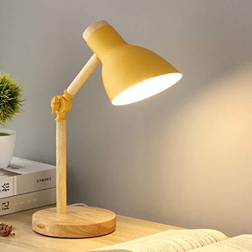 LED Lampara Escritorio Madera Brazo Regulable Lámpara De Mesa Altura 45 Cm / 17,72 Pulgadas, Lámpara De Trabajo Para Leyendo Estudiar Cabecera Oficina, Bombilla De Tornillo E27 No Incluido,Yellow 1