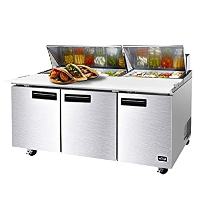 72 Inches Sandwich Salad Prep Table Refrigerator - KITMA 21.1Cu. Ft 3 Door Food Prep Station Table with Cutting Board and 18 Pans, 33 °F - 38°F