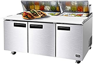 72 Inches Sandwich Salad Prep Table Refrigerator - KITMA 21 Cu. Ft 3 Door Food Prep Station Table with Cutting Board and 18 Pans, 33 °F - 38°F