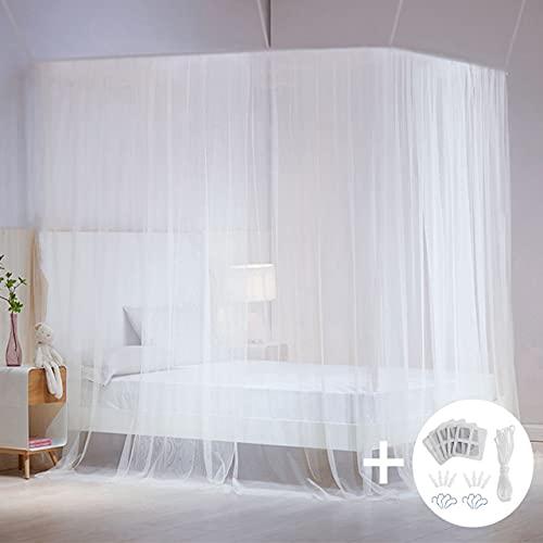 AIMTOP Mosquitera Cama Matrimonio, Mosquitera Viaje Mosquiteras para Camas Fácil de Instalación, Mosquitera Grande Dosel para Cama para Individual y Doble Bette, 220x200x200 cm