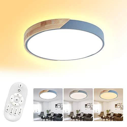 Froadp 48W LED Rotonda Lampada da soffitto con Telecomando Ø40cm Lampadario in Legno Alluminio e Acrilico per Bambini da Letto Cameretta Soggiorno(Dimmerabile)