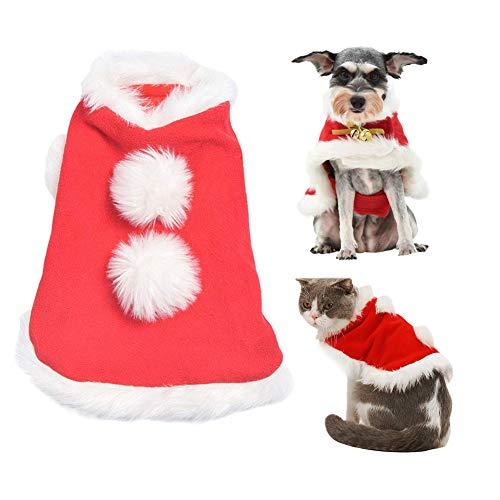 Kuoser Costume da Mantello Natalizio Gatto Campana, Simpatico Animale Domestico Regolabile Dress up Santa Cloth per Cucciolo di Gattino e Cagnolino, Mantella Poncho Rossa Cosplay S/M