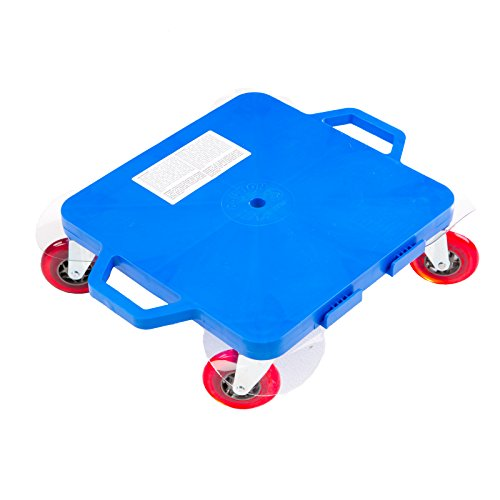 Cosom Scooter Board, 16 Inch Premium Sit & Scoot Board with 4 Inch Non-Marring Performance Wheels, Double Race Bearings, Safety Handles, Physical Education Class Equipment, Blue