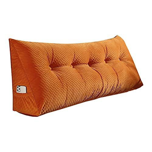 NLCYYQ Cabecera Tapizado Cama Almohada De Lectura Cuña Almohada Cojines Cama para Respaldo Triangular para Sofá Cama Cojín De Cabecera (Naranja,100cm(39in))
