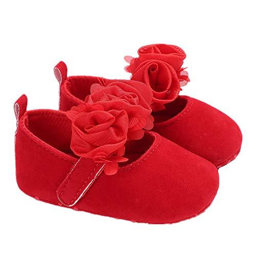 Morbuy Baby Schuhe Rose, Mädchen Kleinkind Babyschuhe Neugeborene Anti-Rutsch Weiche Alleinige Krabbel Weiche Alleinige Schuhe (12cm / 6-12 Monate, Rot)