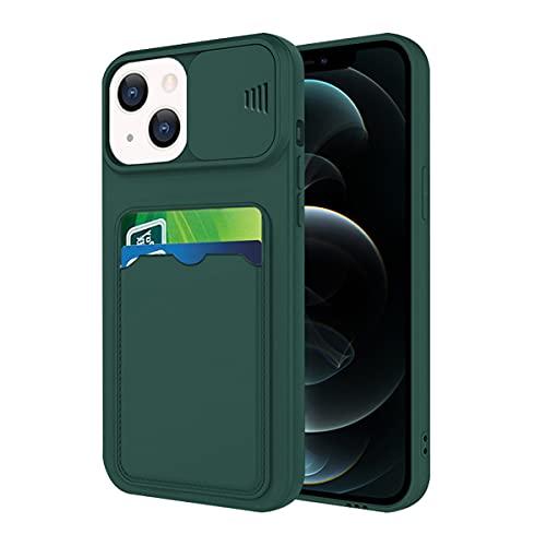 Funda para teléfono móvil compatible con iPhone 13 Mini, carcasa protectora con ranura, funda para iPhone 13 Mini, funda de silicona rosa (verde oscuro, iPhone 13 Mini)