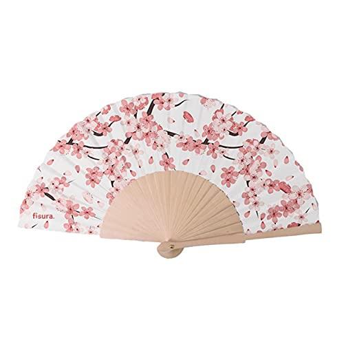 FISURA Abanico Sakura. Accesorio de Verano para Mujer/Hombre. Para Bodas y Eventos...