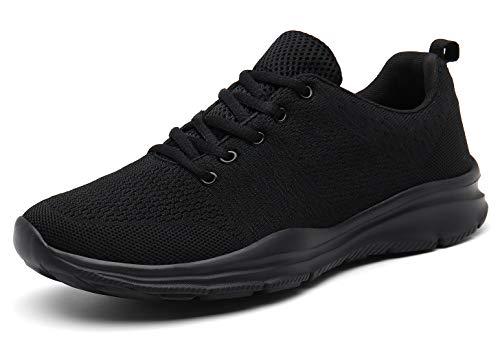 KOUDYEN Laufschuhe Atmungsaktiv Turnschuhe Schnürer Sportschuhe Sneaker für Herren Damen (EU43, Voll Schwarz)
