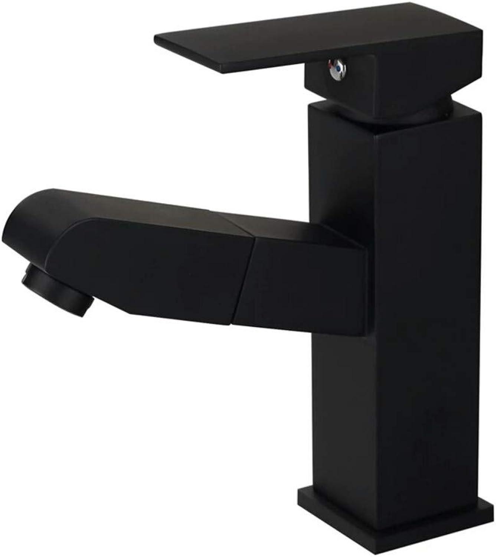 Hot and Cold Basin Extension Faucet Basin Wash Basin Pull Black Faucet Black Pull Hose