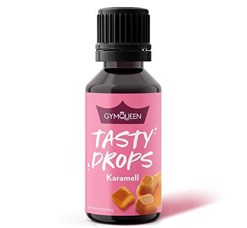 GymQueen Tasty Drops 30ml | Kalorienfreie, Zuckerfreie und Fettfreie Flavour Drops | Aroma Tropfen zum Süßen von Lebensmitteln | Geschmackstropfen ohne Künstliche Farbstoffe I Karamell