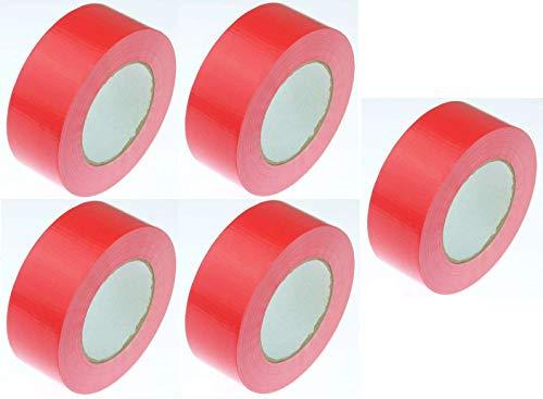 5 Rollen Klebeband Gewebeband 50 m x 48 mm ROT - Panzerband Steinband Gaffa Tape Reparaturband (Rot, 5 Rollen Rot)
