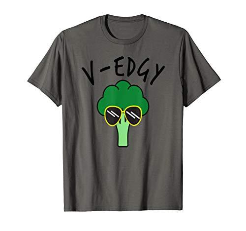 V-Edgy Vegan Funny Broccoli Pun Vegetarian Gardening gift T-Shirt