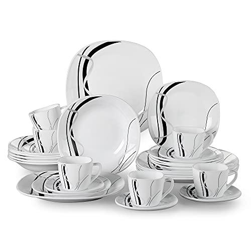 Tafelservice Opalglas, VEWEET Fionaglas 30 tlg   Geschirrset beinhatlet Kaffeetassen 220 ml, Untertasse, Dessertteller, Speiseteller und Suppenteller  Kombiservice für 6 Personen