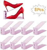bedee Zapateros, Organizadores Ajustables de Zapatoscon Ranuras Soportes de Calzado Apilador para Zapatos Ahorro de Espacio,Organizador Zapatos-8 pcs(Rosado)