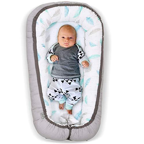 Tiny Star: Baby Nestchen Bett – Multifunktionales Neugeborene Baby Nest – Komplett Waschbar Kuschelnest 2 Seitig für 0 – 6 Monate