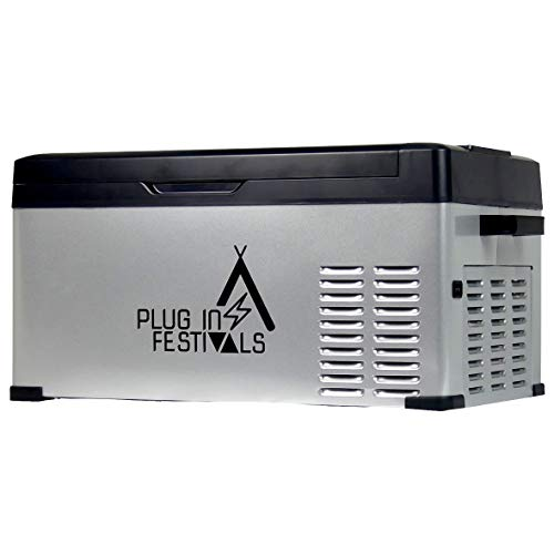 PLUG IN FESTIVALS ® Kompressor Kühlbox 12V 230V   [25 Liter] elektrische Kühlbox   Camping Kühlschrank   Kühlbox Auto oder LKW