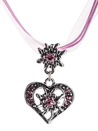 Trachtenkette elegantes Herz mit Strass und Edelweiss Anhänger Trachtenschmuck Kette für Dirndl und Lederhose Damen in vielen Farben (Pink)