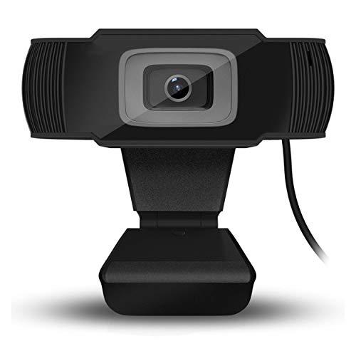 Tree-es-Life Cámara giratoria Cámara Web HD Cámara USB portátil Cámara de grabación de Video con micrófono para PC Negro 720P