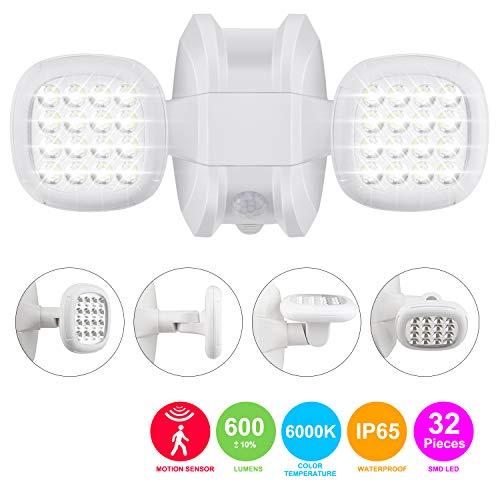 HONWELL LED Strahler mit Bewegungsmelder Außen Sicherheitsbeleuchtung Einstellbarem Dual-Head Bewegungs-Sensor-Licht Außenstrahler einstellbarem IP65 Wasserdicht Fluter für Hof Garten Garage