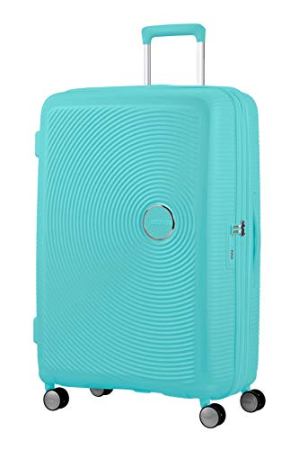 American Tourister Soundbox - Spinner L Expandable Suitcase, 77 cm, 97/110 Litre, Blue (Poolside Blue)