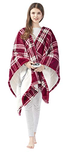 Beautyrest Ultra Soft Sherpa Berber Fleece Electric Poncho Wrap Blanket Heated Throw with Auto Shutoff, 50' W x 64' L, Red Plaid