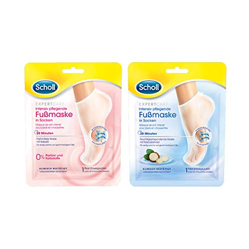 Scholl EXPERTCARE Intensiv pflegende Fußmaske in Socken im praktischen Set mit 2 verschiedenen Sorten – Feuchtigkeitsspendende Fußpflege für seidig weiche Füße – 2 x 1 Paar Einwegsocken