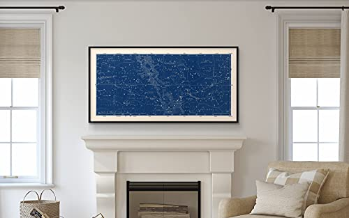 Large Blue Wall Art Constellation Map for Home Office, Bedroom, Modern Home Decor Celestial Astronomy Star Map Nautical Astrology - Blue, Black, Gray, Navy - Small to Large Sizes - Unframed