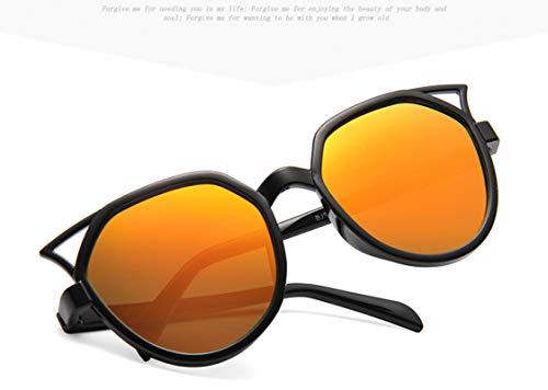 Gafas de Sol Gafas De Sol De Lente Redonda con Montura De Ojo De Gato Bonito A La Moda para Mujer, Gafas De Sol Reflectantes Plateadas Negras con Espe
