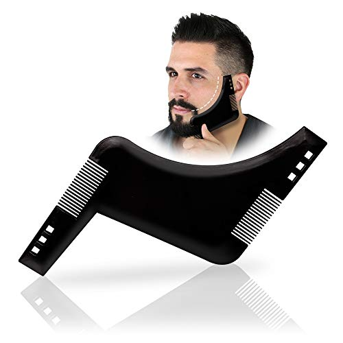 MILYSHARE Beard Shaping & Styling Tool with inbuilt Comb for Style Your Beard & Facial Hair Perfect line up & Edging,Works with any Beard Razor Electric Trimmers or Clippers (Black)