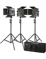 Neewer 3 Pack 660 LED-videolampen met LCD-scherm verlichtingsset voor fotografie met standaard: dimbaar 3200-5600K CRI96 LED-paneel Premium 200cm licht statief voor Studio YouTube