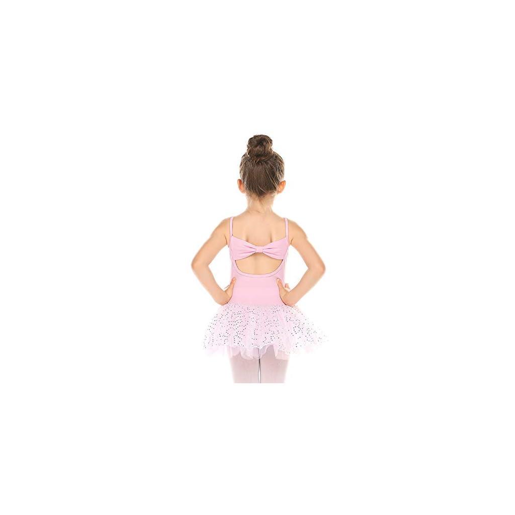 Zaclotre Girls Ballet Leotards Cotton Camisole Dance Tutu Dress Back Bow with Skirt
