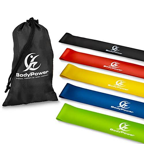 WOMA Fitnessbänder & Widerstandsbänder Set in 5 Stärken - 100% Naturlatex Resistance Bands Set für effektives Ganzkörper Krafttraining Zuhause, Yoga, Pilates, Crossfit UVM! - 60cm x 5cm