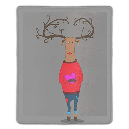 Hipster Deer Holding Heart Customized Non-Slip Rubber Mousepad Gaming Mouse Pad - 8.66 x 7.08 inch
