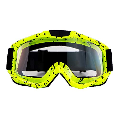 DragonPad Motorrad Brille, Motocross Brille Klassen Radfahren Gafas Off Road Racing Brillen Ourdoor Sport Gaming Sonnenbrillen Transparente Linse mit gelbem Rahmen